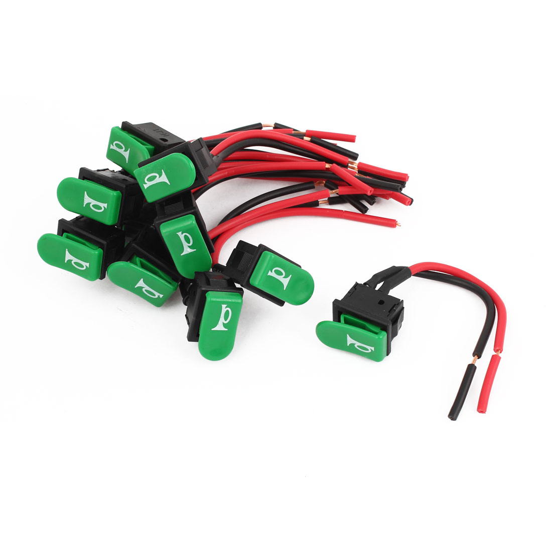 10 Pcs SPST Green Horn Button Momentary Wired Rocker Switch 12V