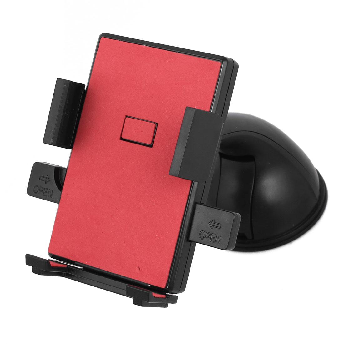 Car Windshield Dash Mount Adjustable 360 Degree Holder Black Red for Smartphone GPS