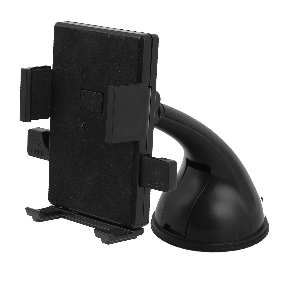 Car Truck Windshield Adjustable Black Plastic Bracket Holder for GPS Cellphone