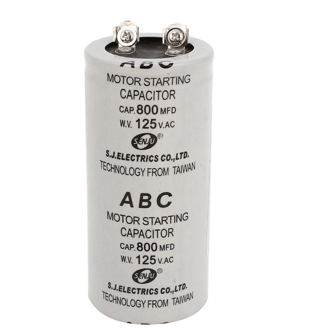 Gray Shell Polypropylene Film 800uF AC125V Motor Starting Capacitor