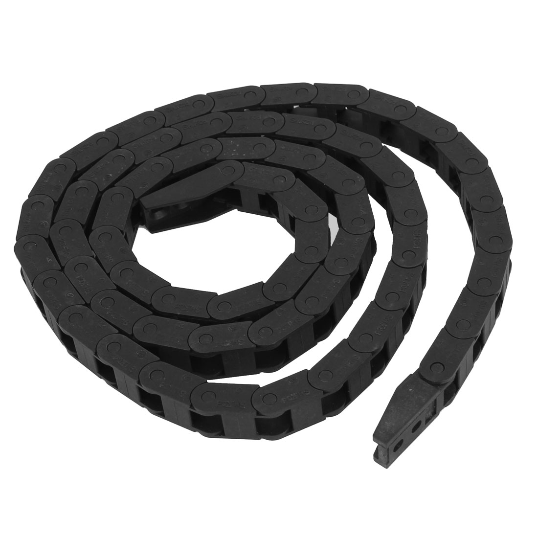 CNC Machine Black Plastic 7.3mmx7mm R4.5cm Cable Drag Chain 3.3Ft Long