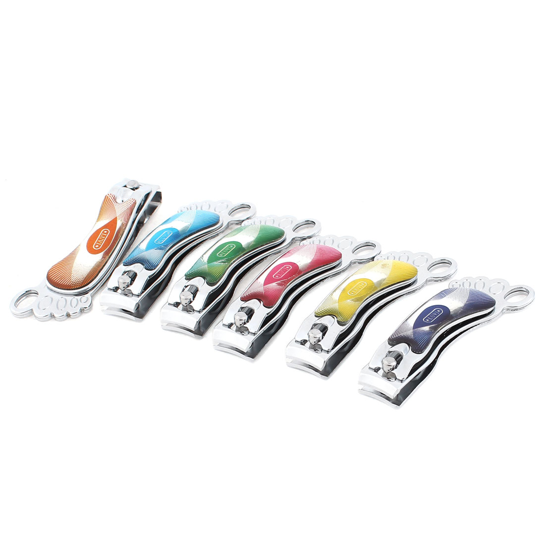 6 Pcs Assorted Colour Silver Tone Cosmetic Manicure Tool Nail Clipper