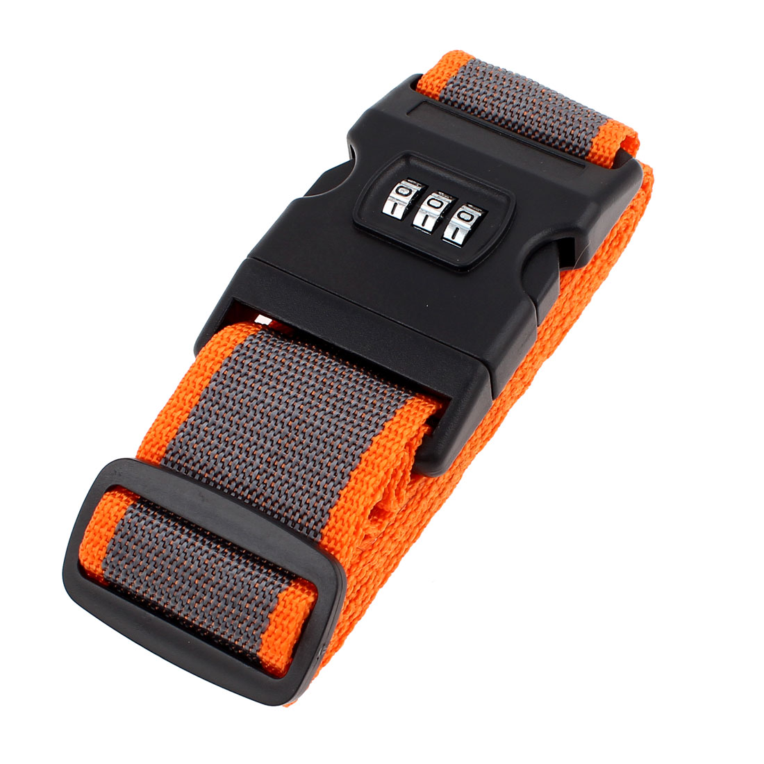 Release Buckle 3 Digits Password Combination Luggage Strap Orange Gray 2M Long