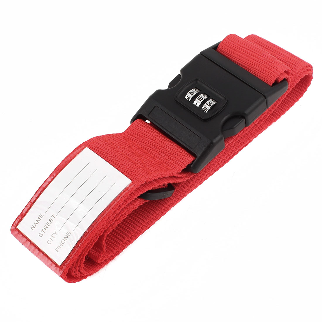 Release Buckle 3 Digits Password Combination Luggage Strap Belt Red 5cm Width