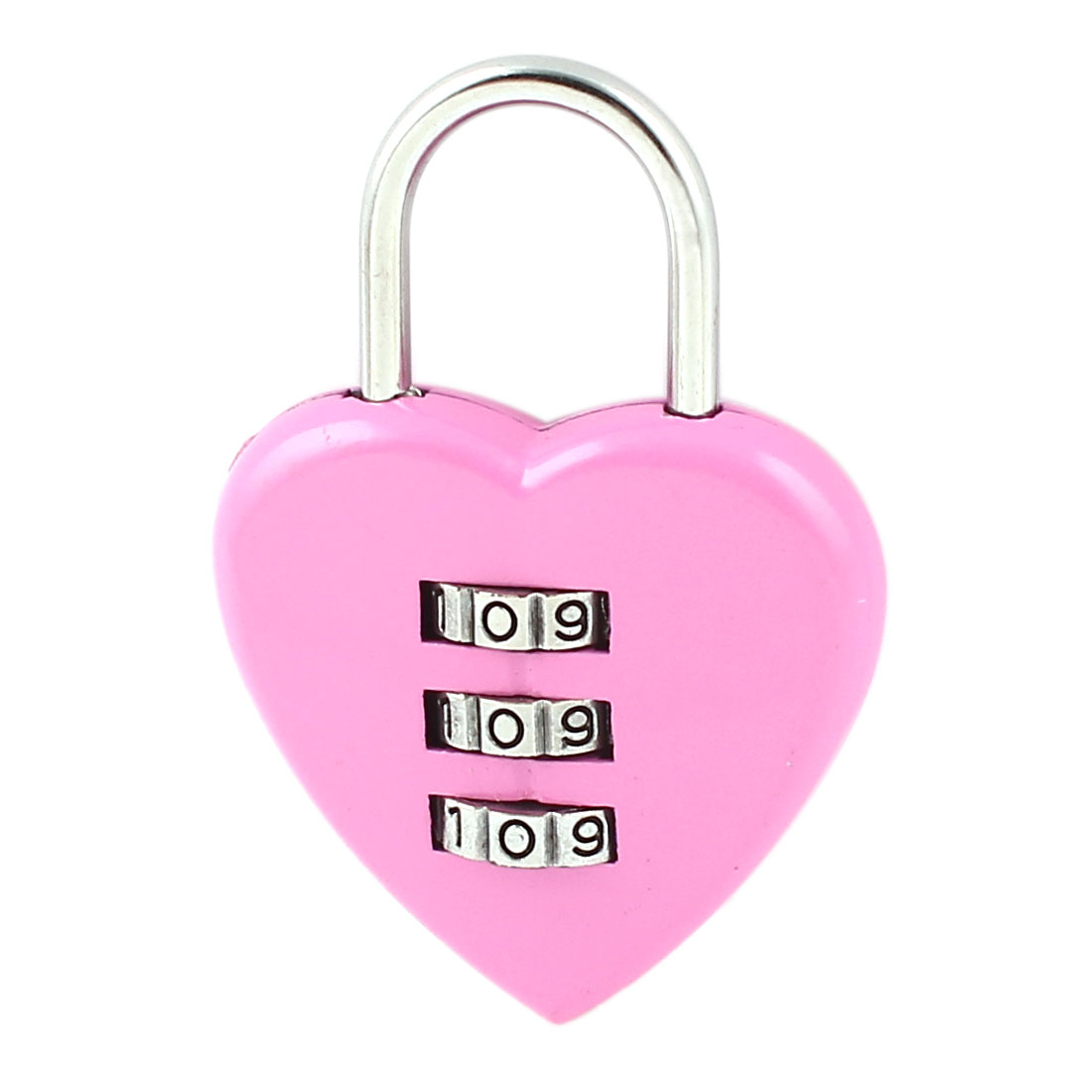 Light Purple Heart Shaped Resettable 3 Digits Combination Password Padlock
