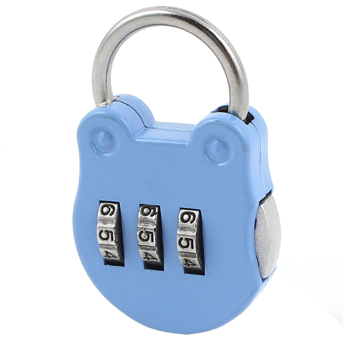 Blue Cat Head Shape 3 Digits Security Password Combination Travel Padlock