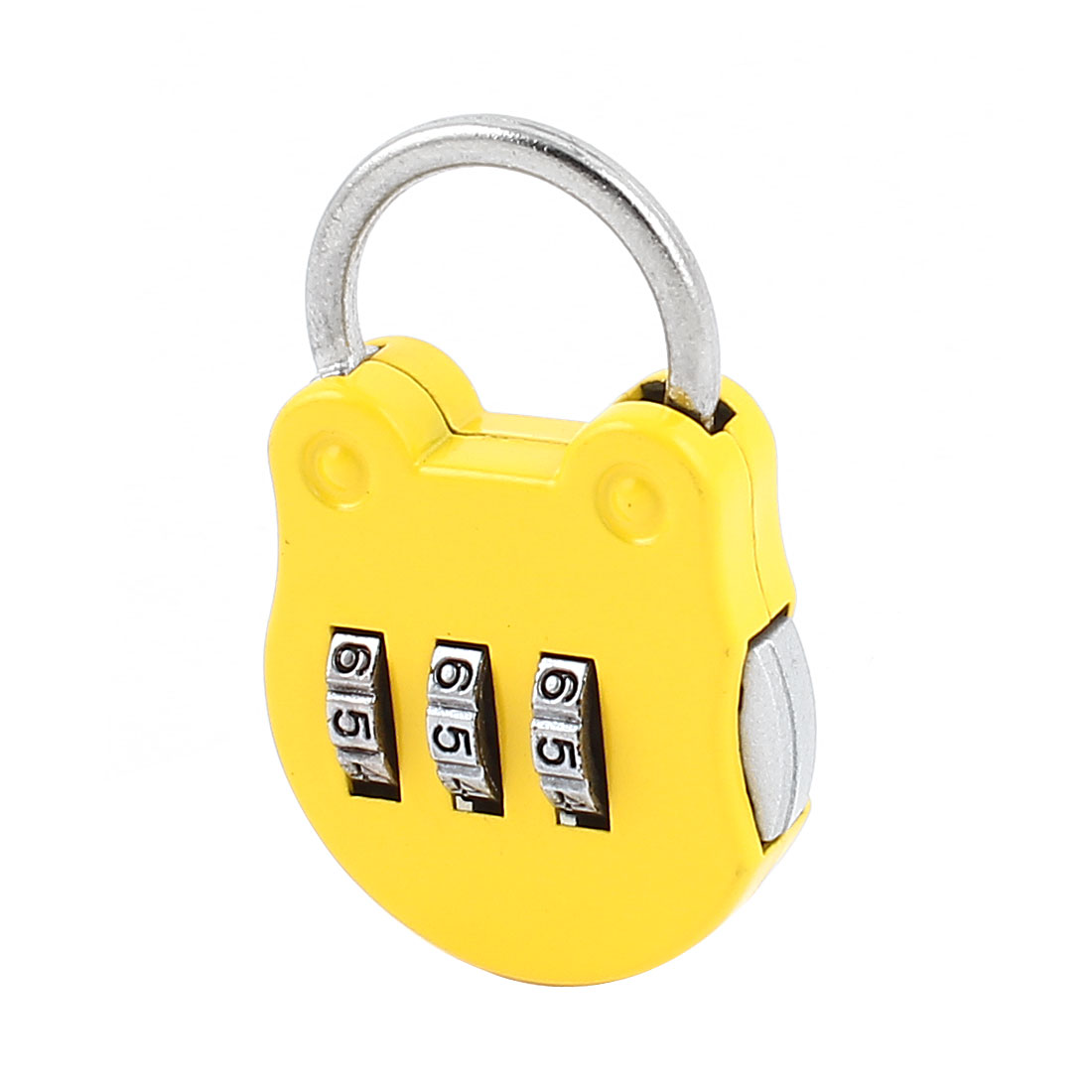 Yellow Cat Head Shape 3 Digits Security Password Combination Travel Padlock