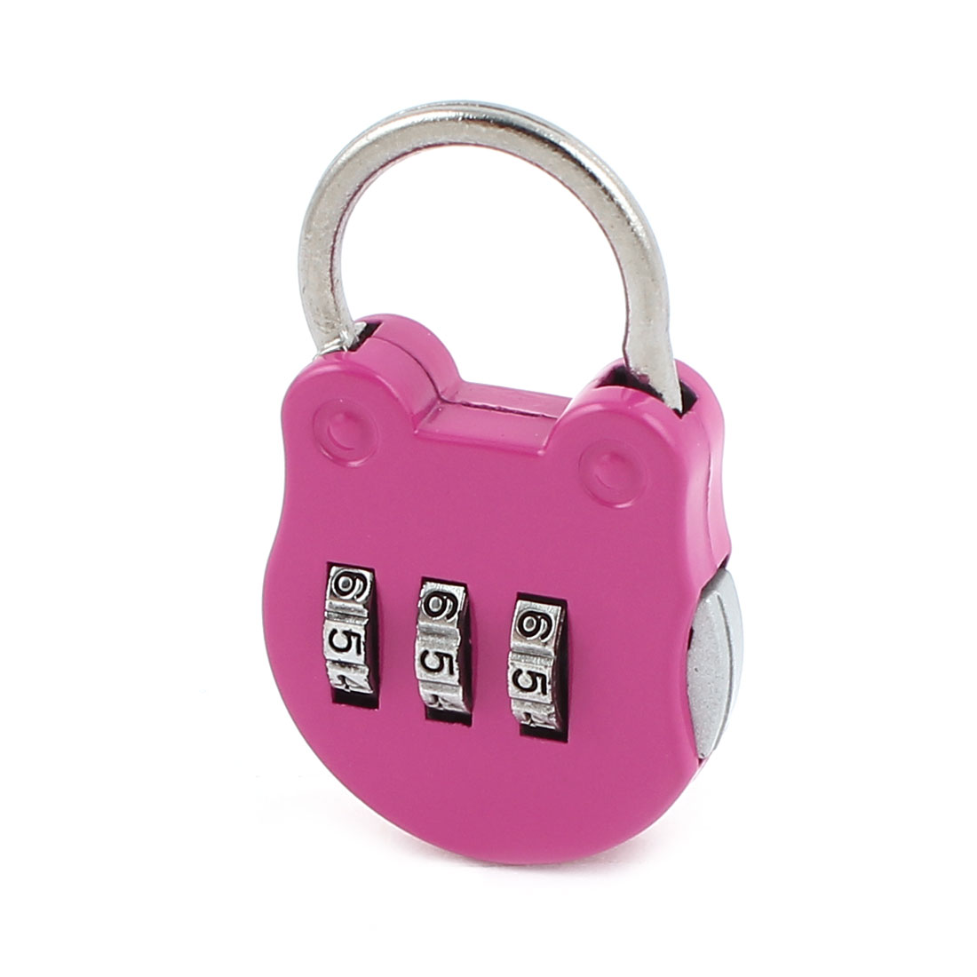 Fuchsia Cat Head Design 3 Digits Security Password Combination Travel Padlock