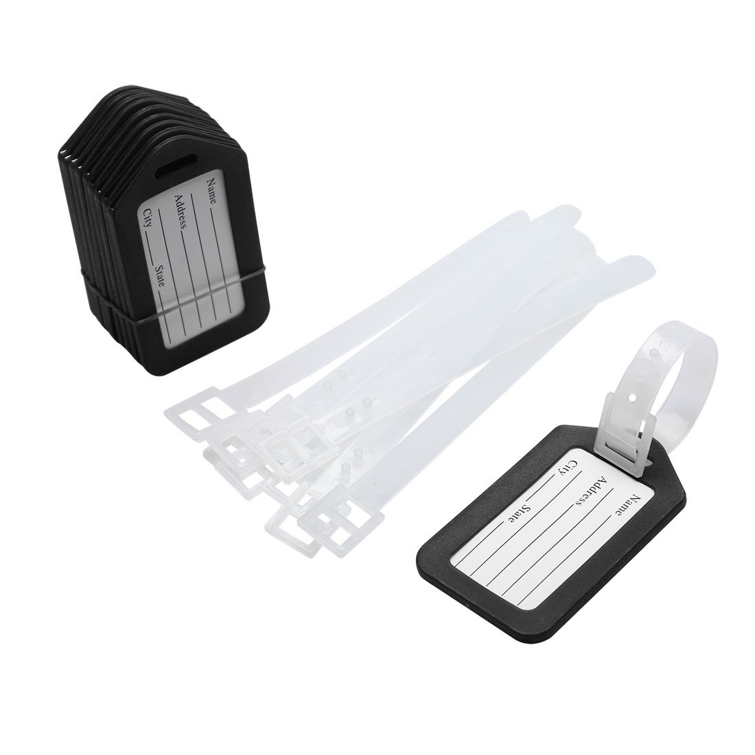 Address Information Plastic Bags Backpack Luggage Tag Black White 10 Pcs