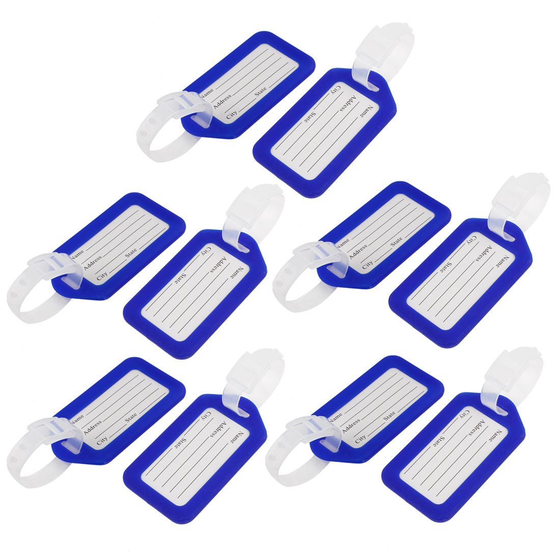 10 Pcs Blue White Hard Plastic Suitcase Bag ID Name Label Travel Luggage Tags