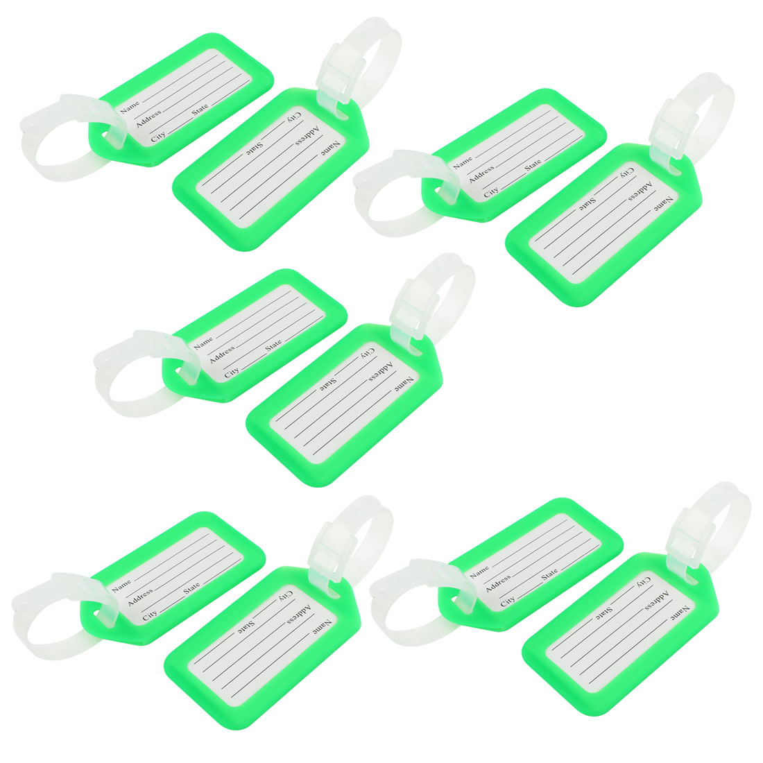 Suitcase Bag Rectangle Design Green White Plastic Name Label Luggage Tag 10 Pcs