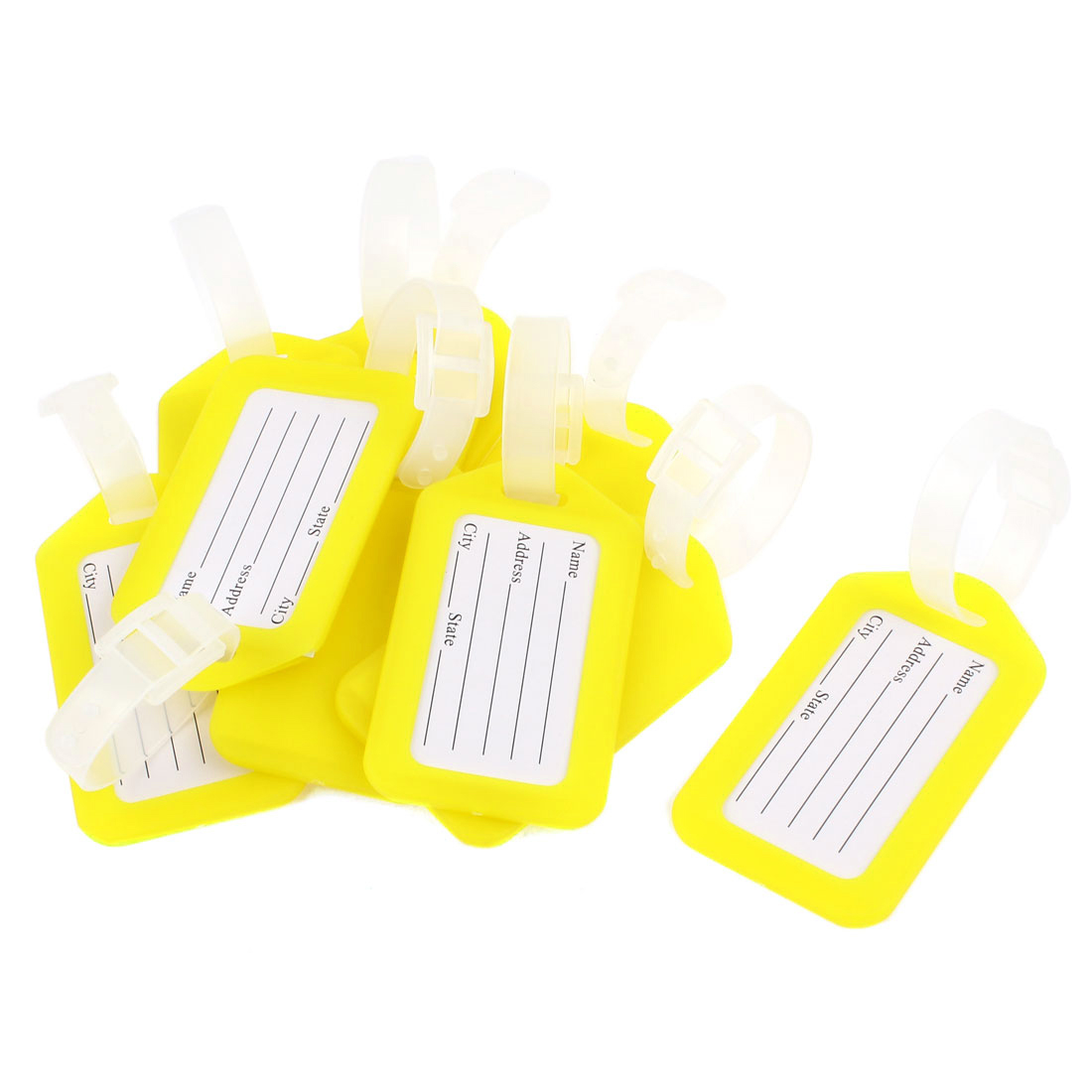 10 Pcs Yellow White Plastic Suitcase Bag Name Label Travel Luggage Holder Tags
