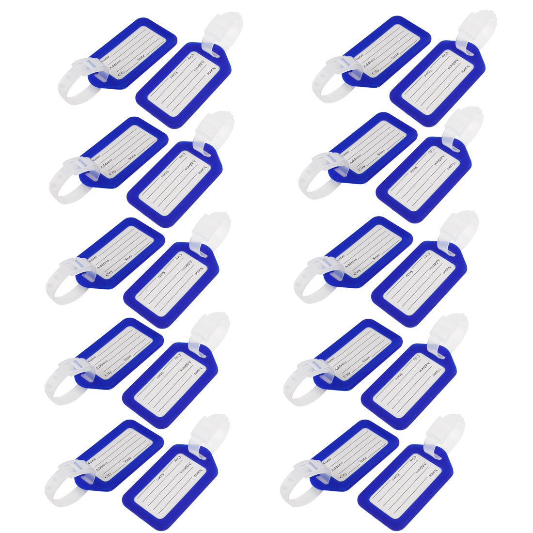 20 Pcs Blue White Hard Plastic Suitcase Bag Name Label Travel Luggage Tags
