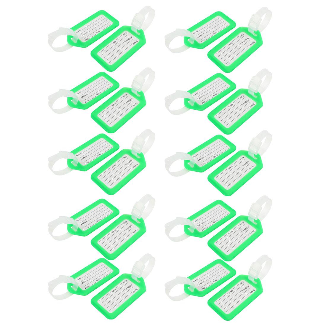 Green White Rectangle Design Plastic Suitcase Name Label Luggage Tag 20 Pcs