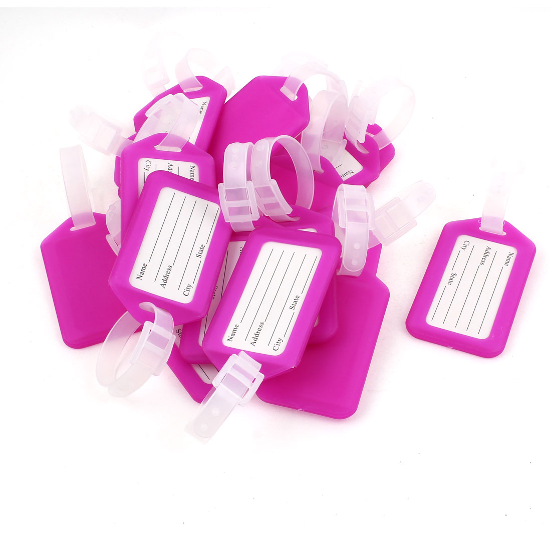20 Pcs Fuchsia White Hard Plastic Suitcase Name Label Travel Luggage Tags