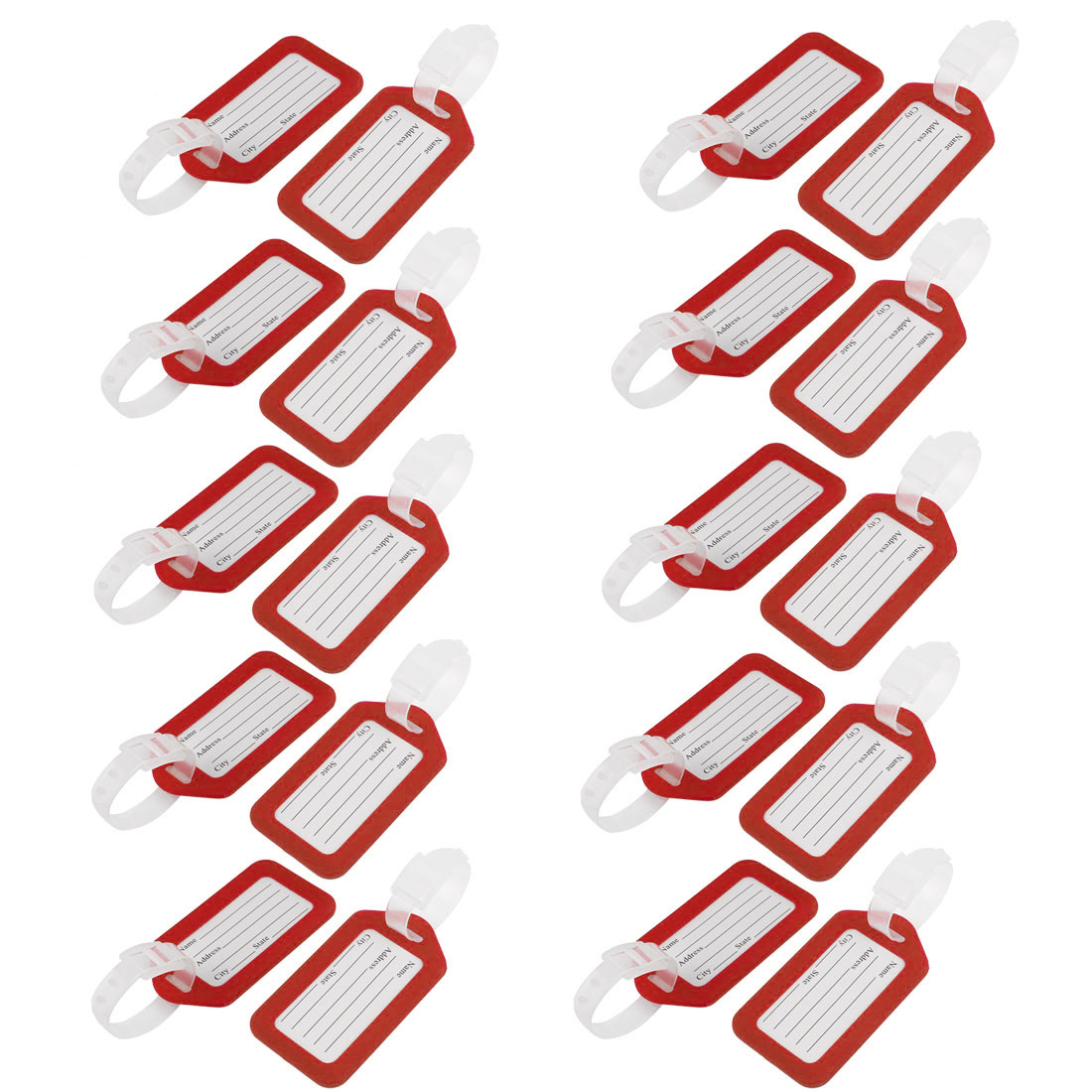 Red White Rectangle Design Plastic Bag ID Name Label Luggage Tag 20 Pcs