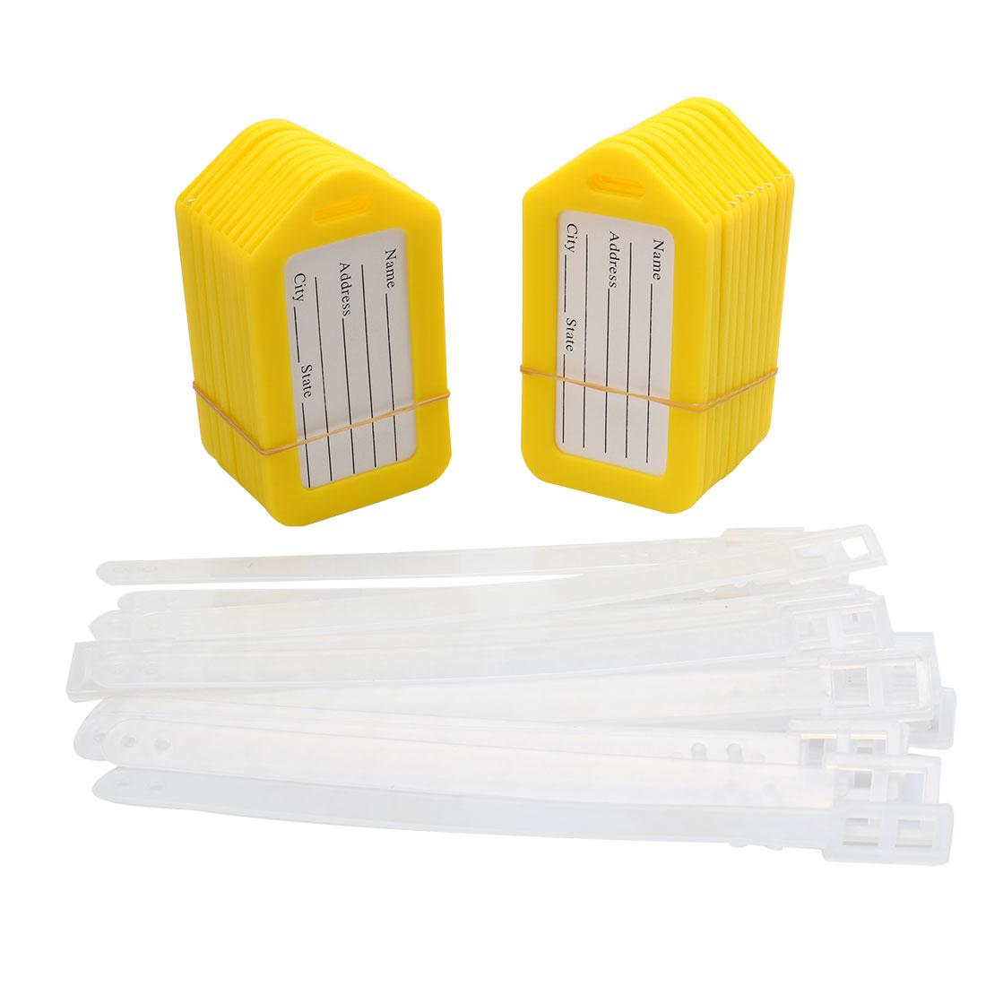 Yellow White Rectangle Shape Plastic Bag ID Name Label Luggage Tag 20 Pcs