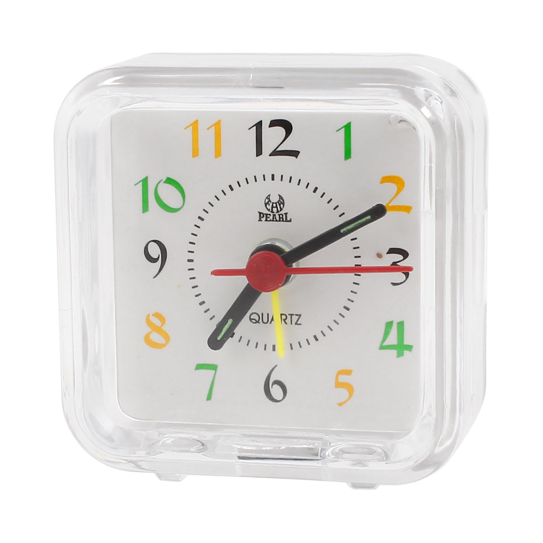65mmx63mm Square Arabic Number Display Desk Alarm Clock White Clear
