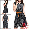 Lady Dark Blue Cat Pattern Button Closure Front Casual Shirt Dress w Belt S