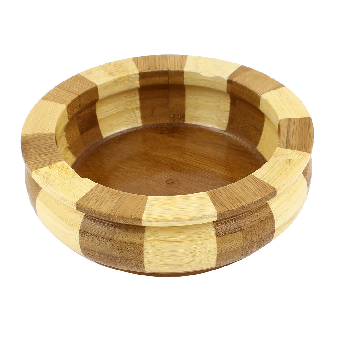 Home Office Beige Brown Bamboo Round Design Cigarette Ash Holder Ashtray