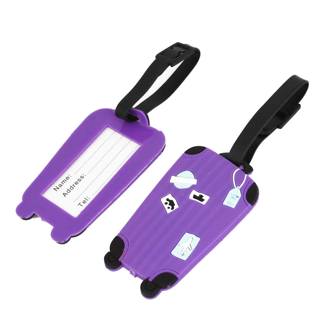 Purple Plastic Airplane Car Ship Printed Luggage Baggage Tag 2 Pcs
