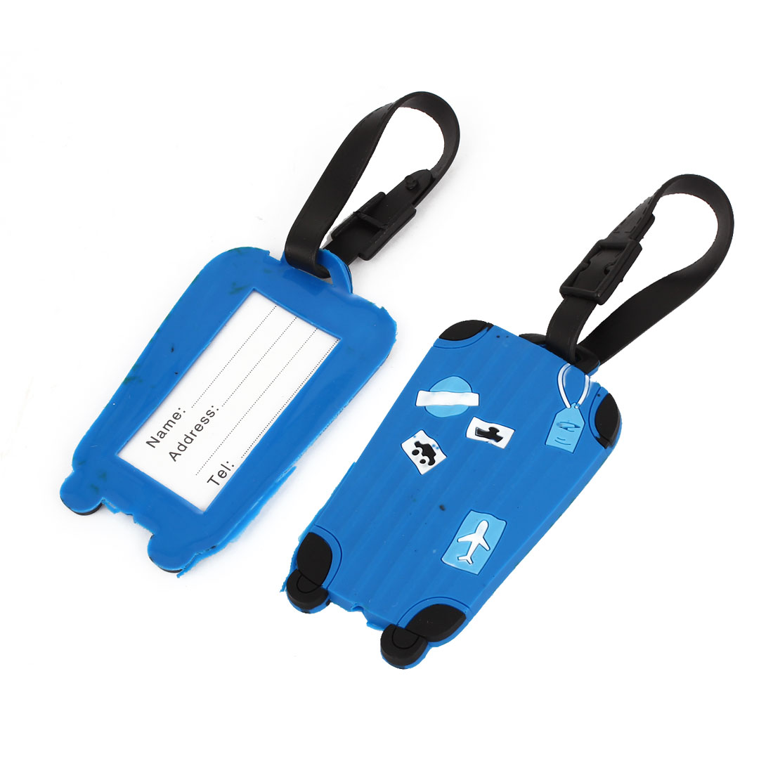Dark Blue Plastic Cyan Plane Car Ship Printed Luggage Baggage Tag Label 2 Pcs
