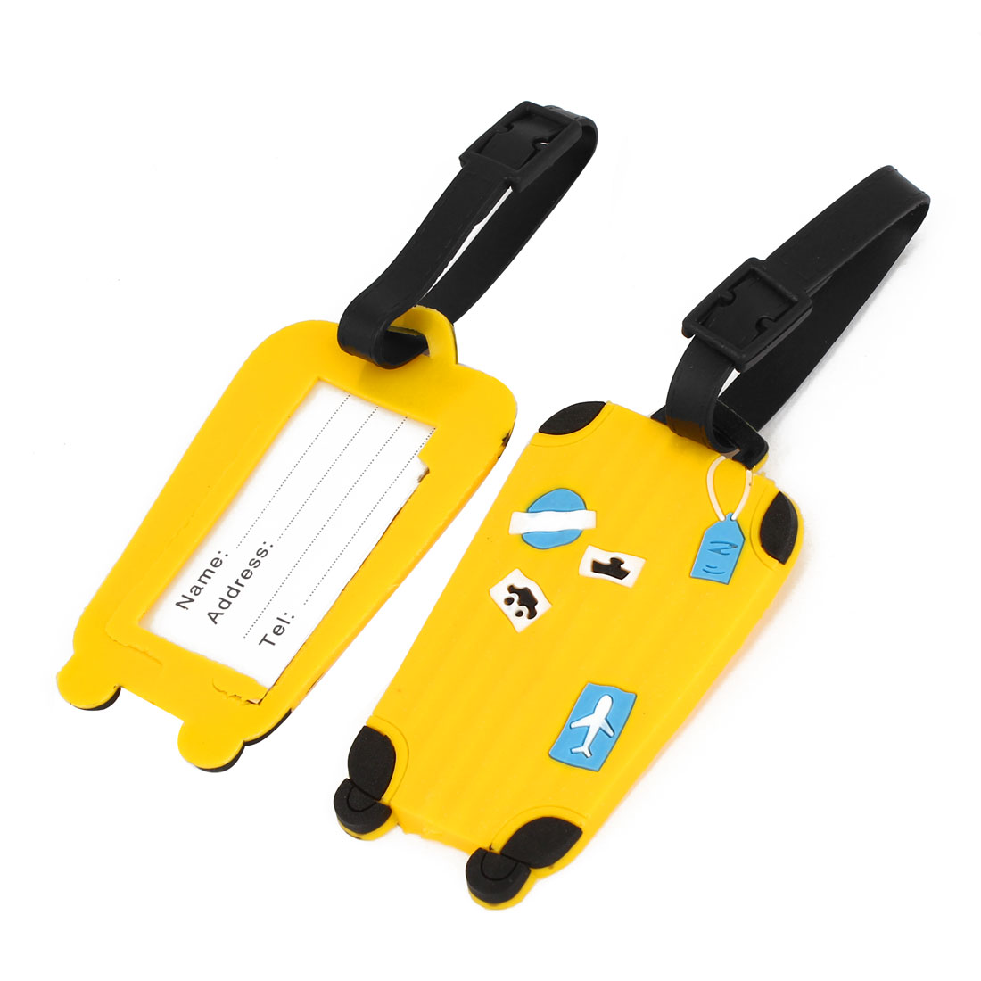 Plane Car Boat Pattern Travel Suitcase Baggage Luggage ID Tag Yellow 2Pcs
