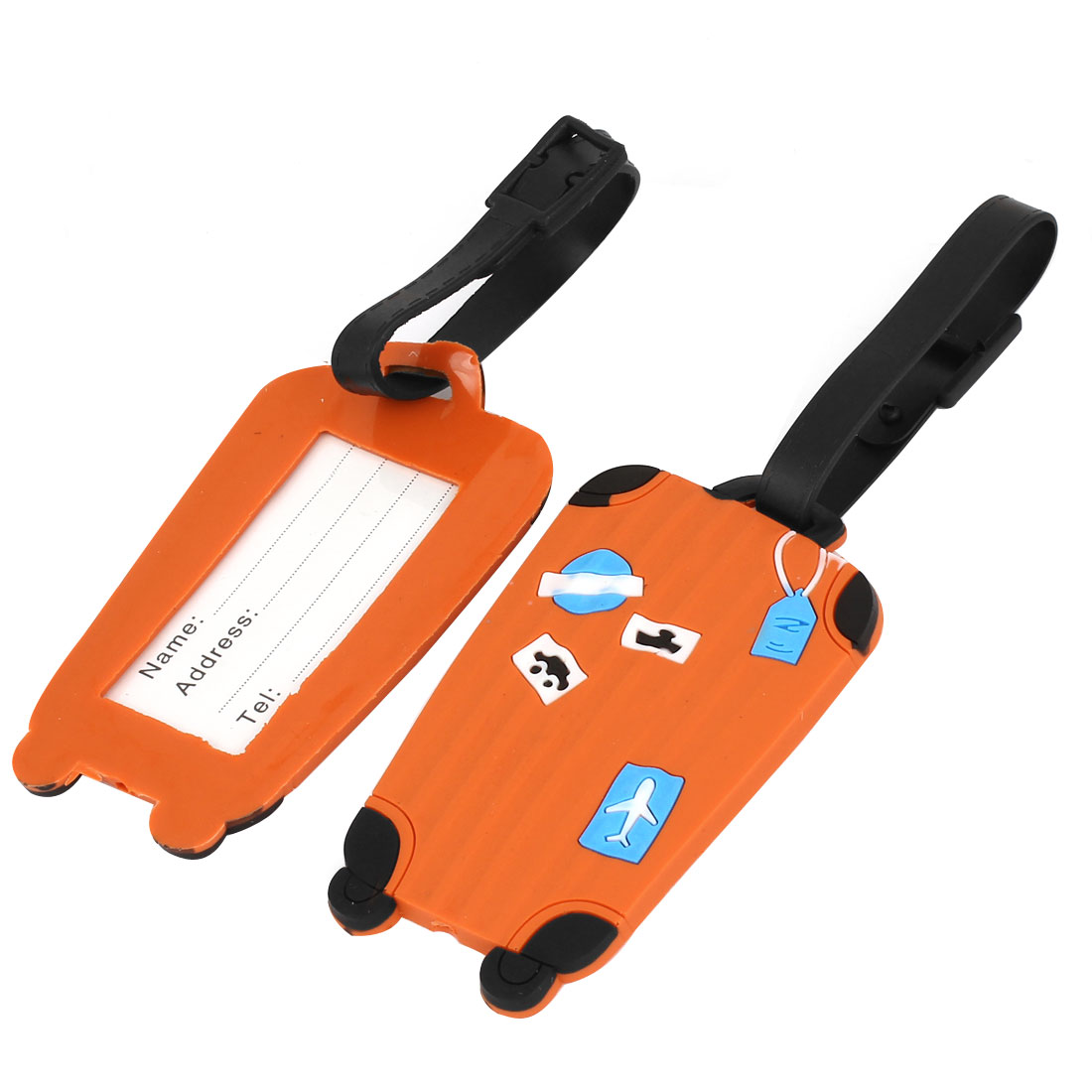 Cyan Plane Car Ship Pattern Orange Soft Plastic Luggage Baggage Tag 2 Pcs