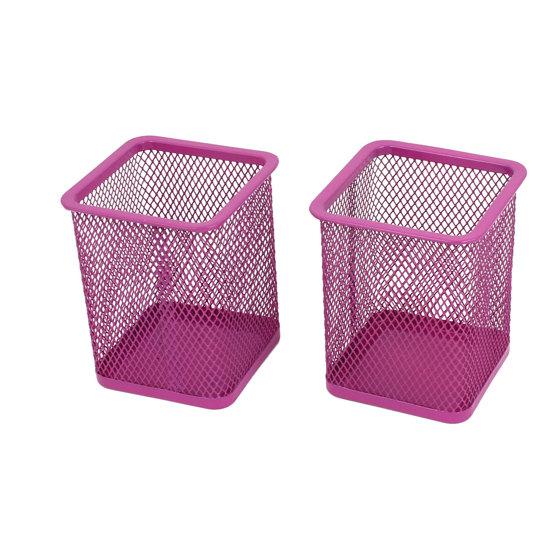 2Pcs Fushsia Metal Rectangle Meshy Style Pen Pencil Ruler Holder Container Desk Organizer 9.7cm High