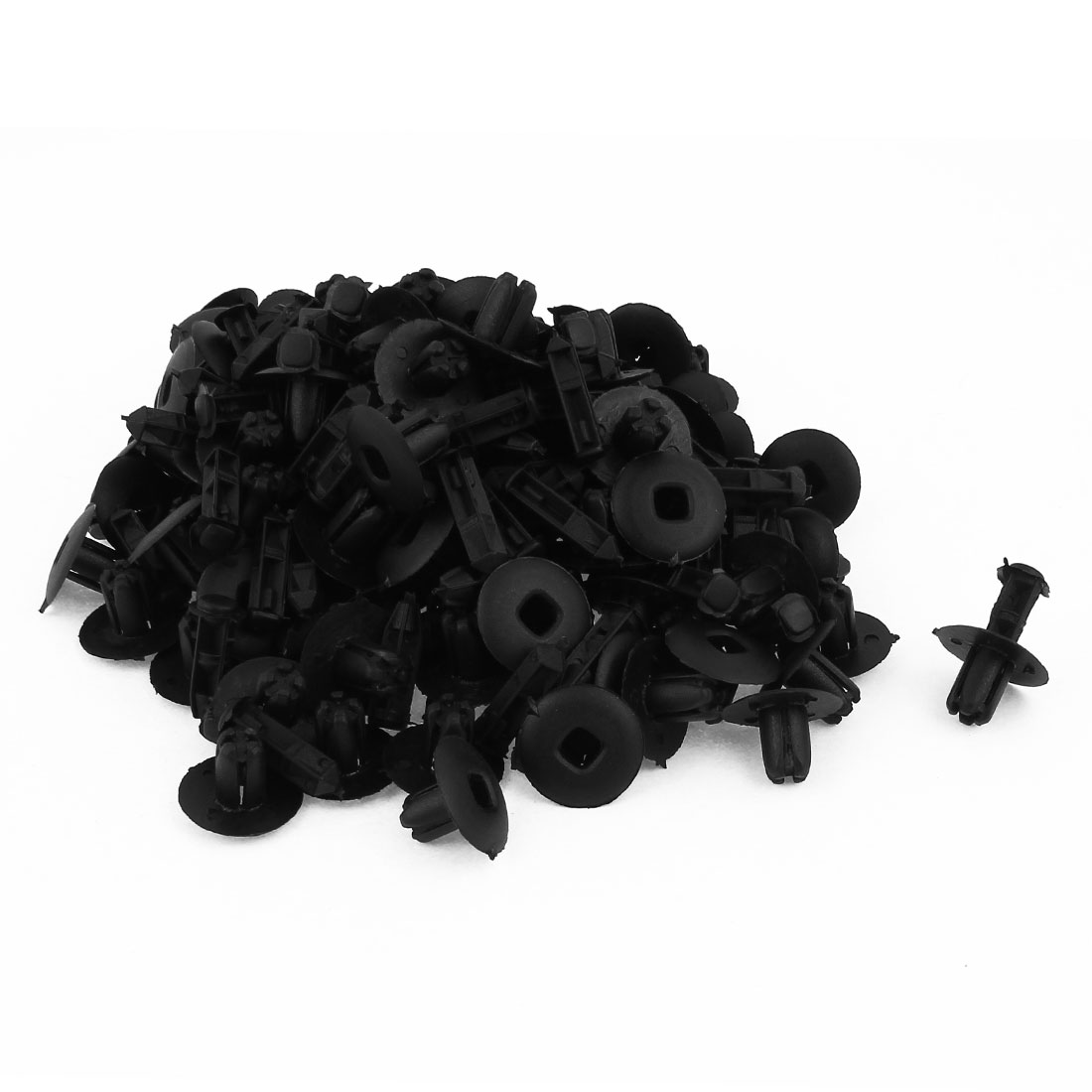 Auto 8mm Hole Black Plastic Rivets Fastener Bumper Push Clips 100 Pcs