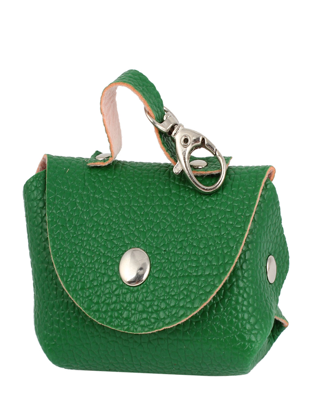 Green Faux Leather Litchi Prints Press Stud Closure Coin Purse Keys Bag