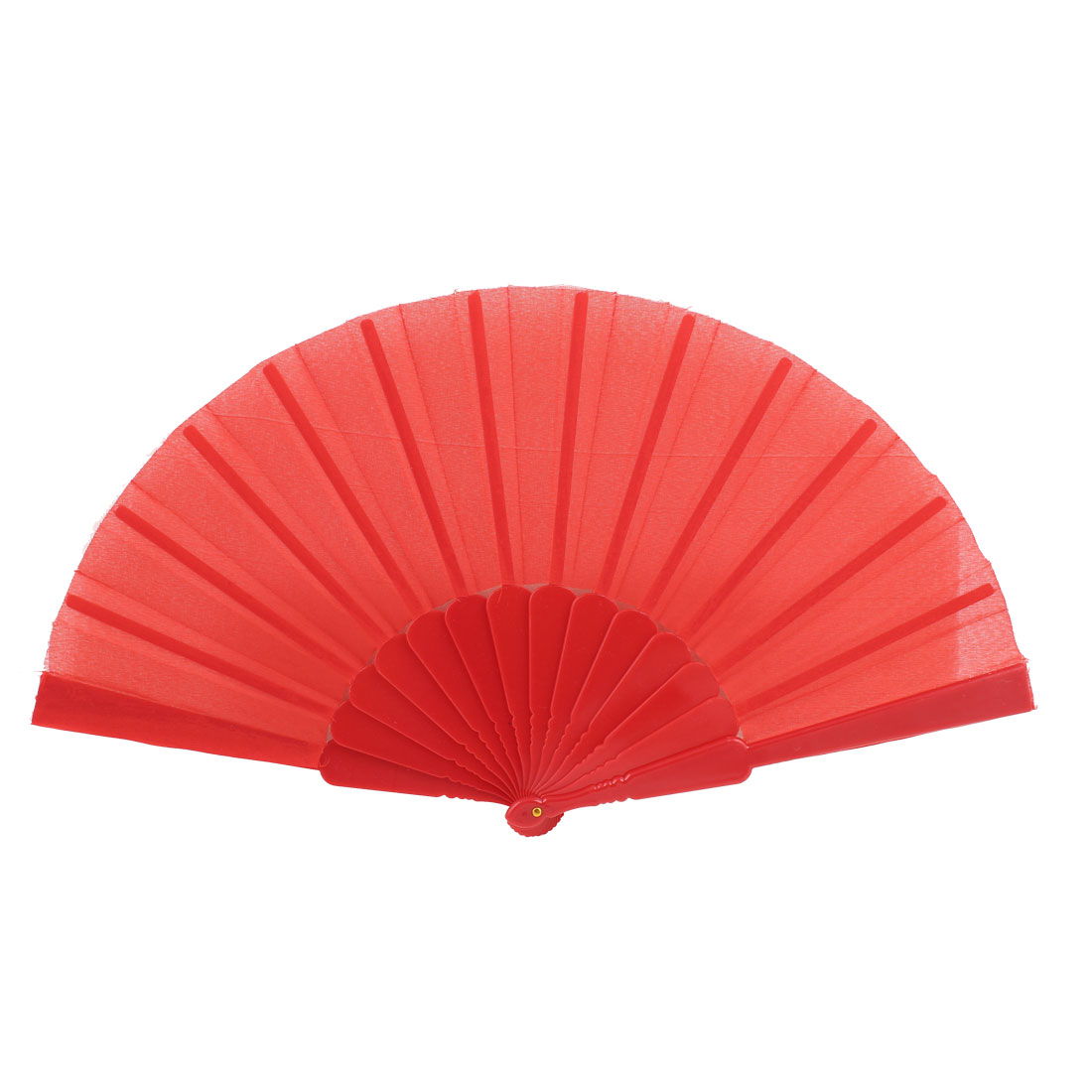 Red Cloth Plastic Frame Folding Fan for Woman Dancing