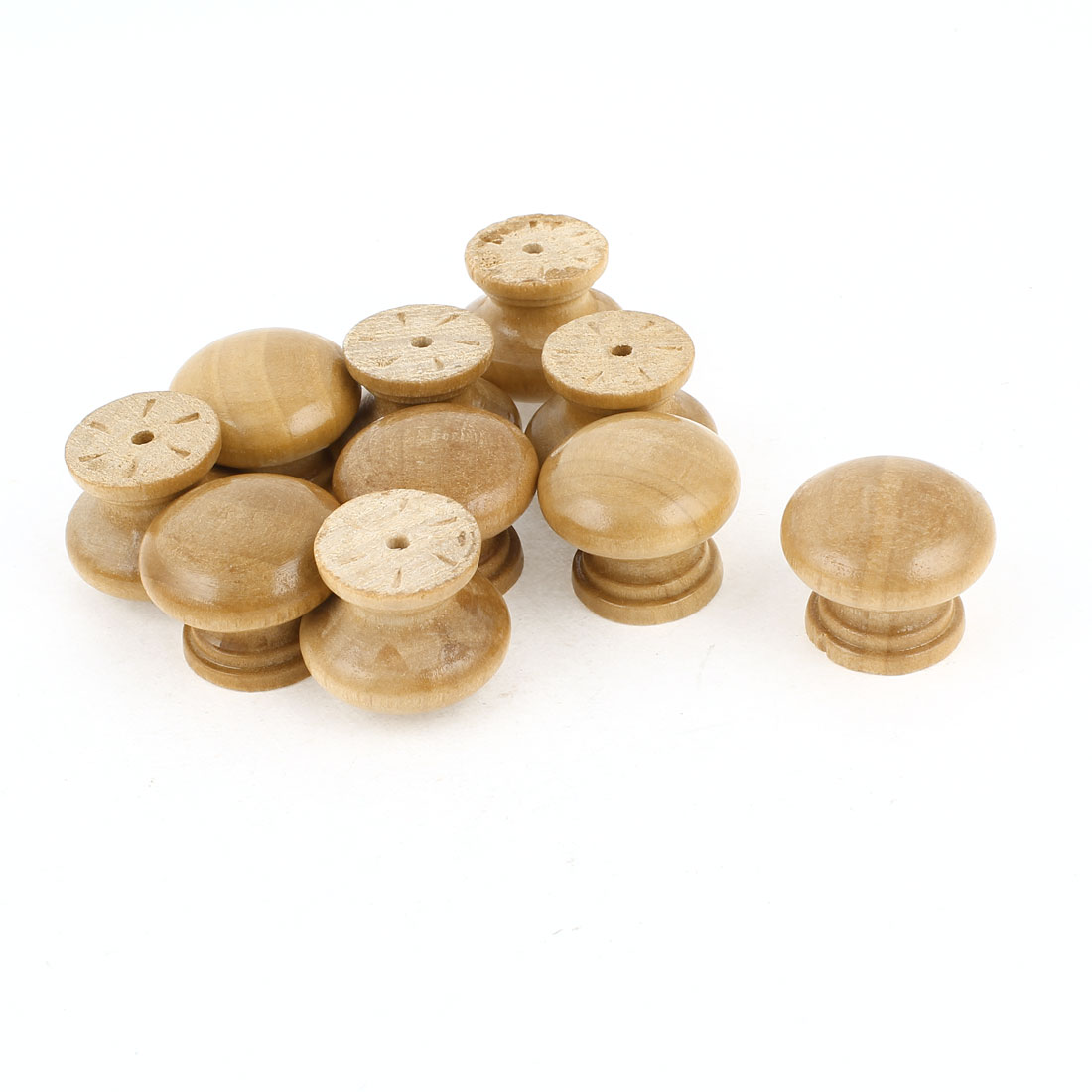10Pcs Browm Screwed Fixing Door Drawer 2.8cm Dia Wooden Pull Knob Handle