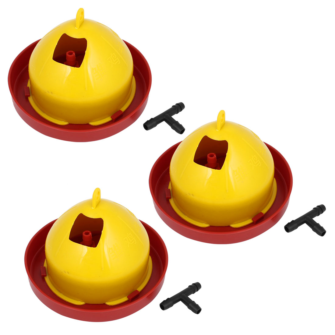 780ml Red Yellow Plastic Automatic Poultry Bird Chick Fount Waterer Feeder Drinker 3pcs