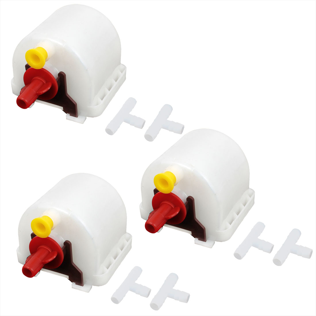 3 Pcs Red White Plastic Automatic Fount Waterer Feeder Drinker for Pet Rabbit Marten