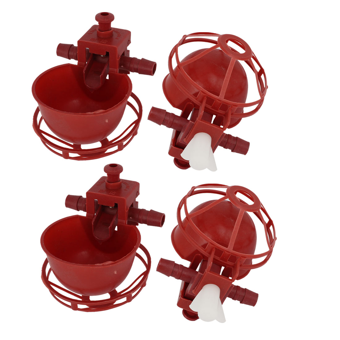 4pcs Red Plastic Automatic Fount Waterer Feeder Drinker Cup for Pet Bird Pigeon