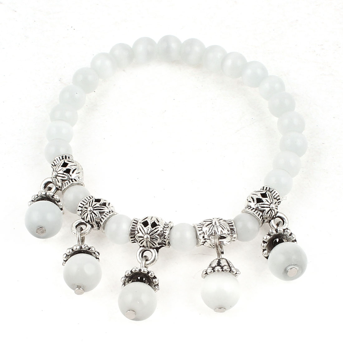 Lady Manmade White Faceted Opal Bead Silver Tone Decor Stretchy Bracelet