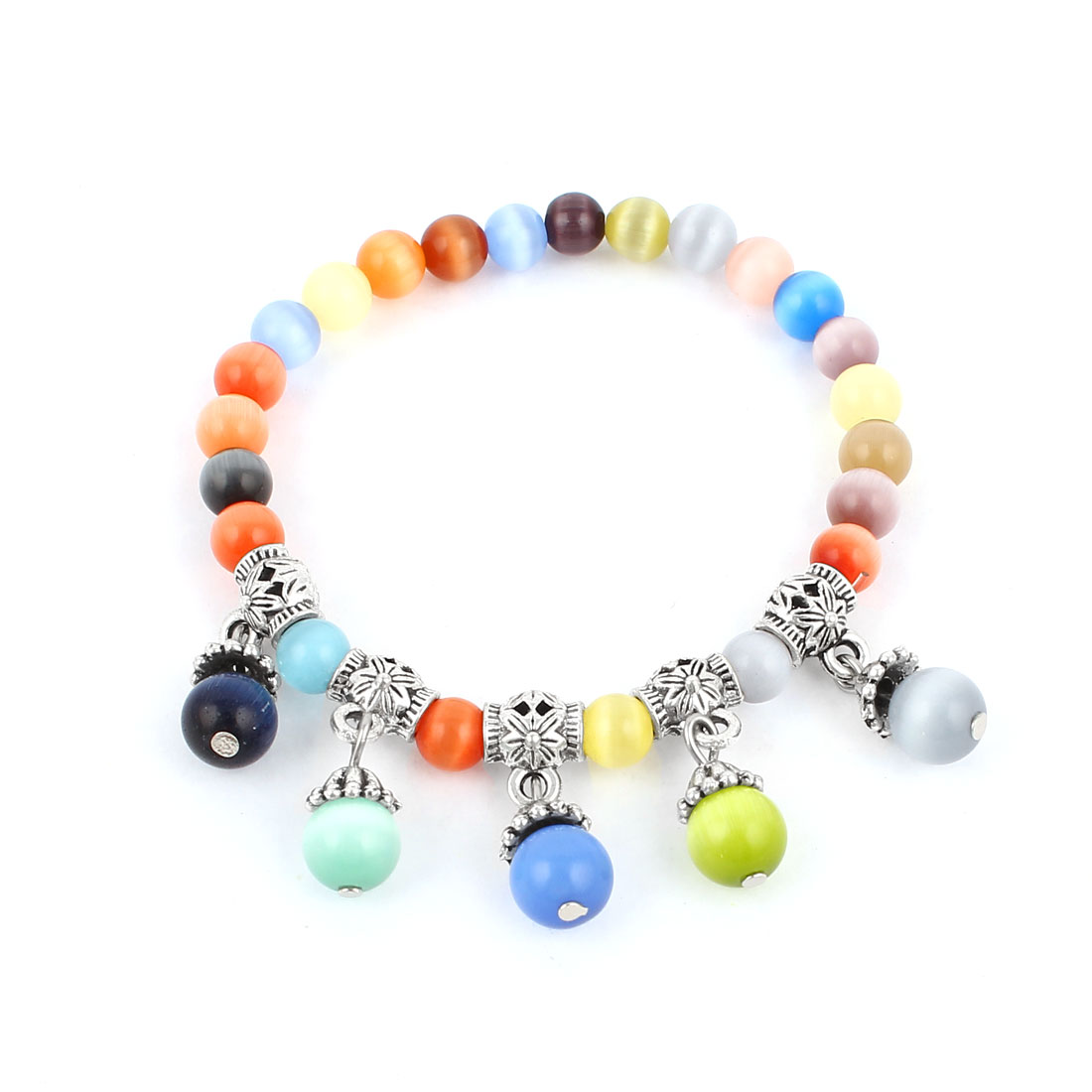 Lady Manmade Multicolor Silver Tone Faceted Opal Bead Decor Stretchy Bracelet