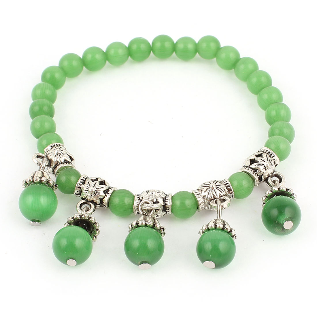 Lady Opal Bead Manmade Faceted Green Silver Tone Decor Stretchy Bracelet