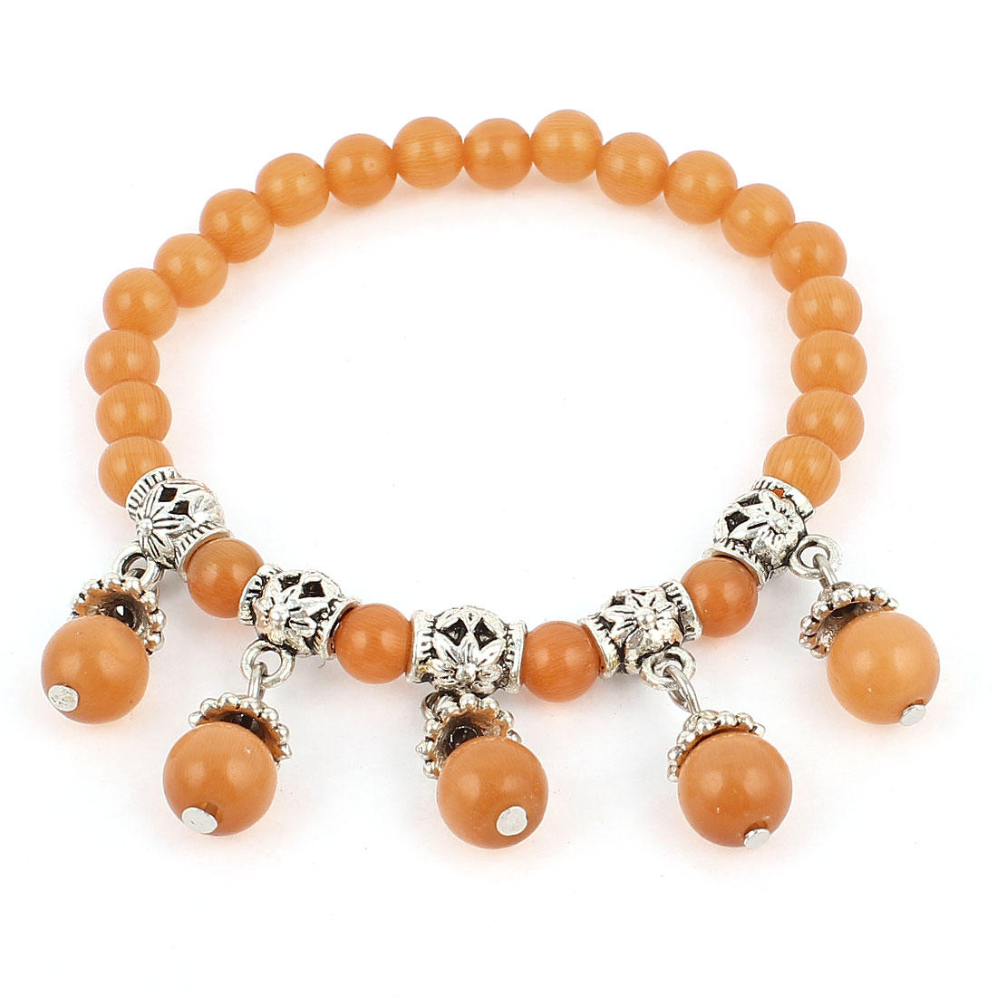 Opal Bead Lady Manmade Faceted Tibetian Orange Silver Tone Decor Stretchy Bracelet