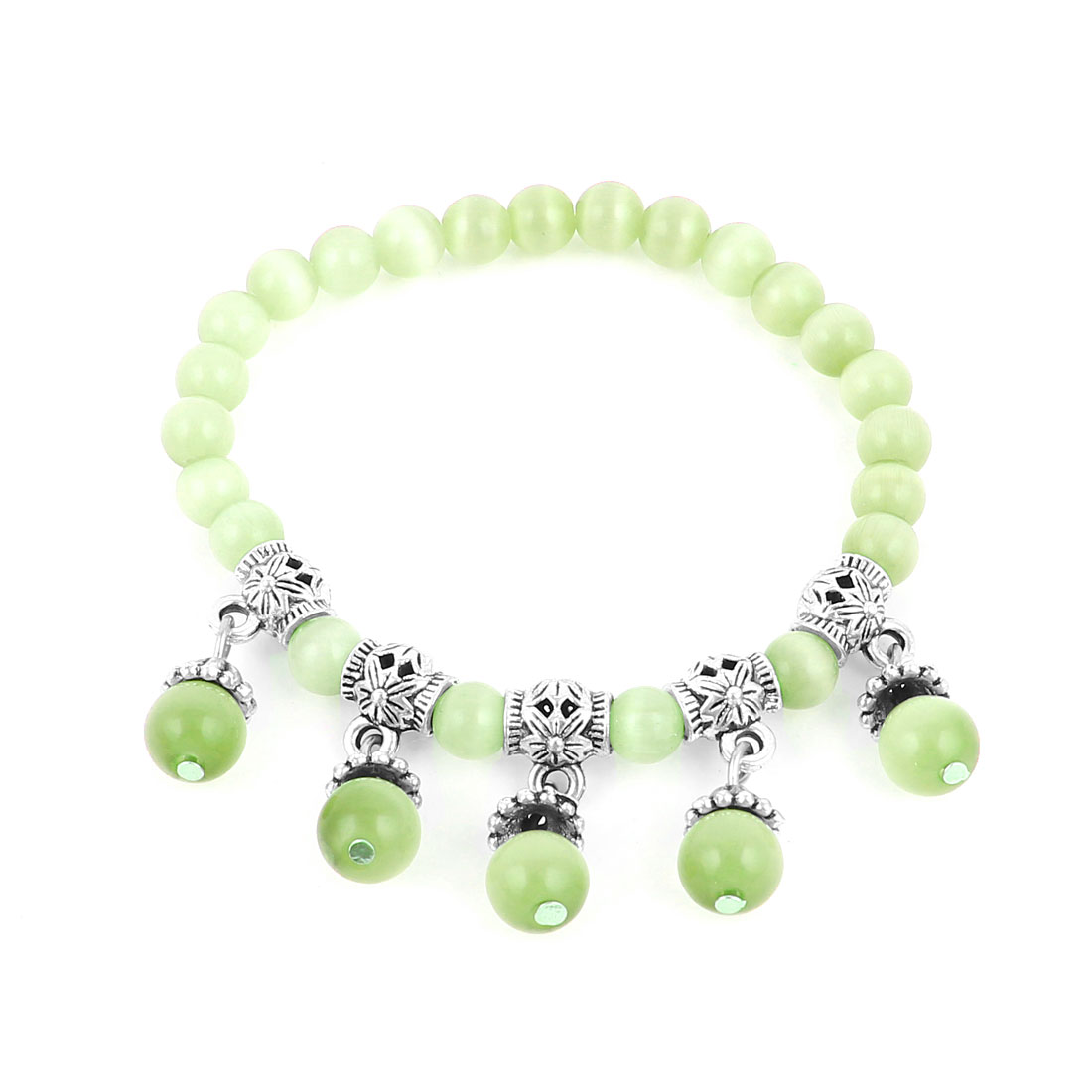 Lady Manmade Faceted Opal Bead Light Green Silver Tone Decor Stretchy Bracelet