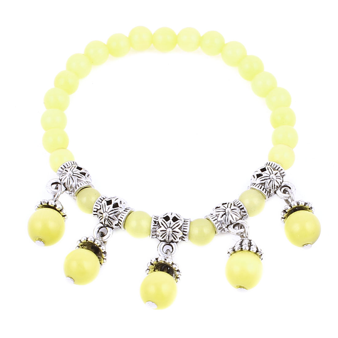 Lady Manmade Faceted Opal Bead Yellow Silver Tone Decor Stretchy Bracelet