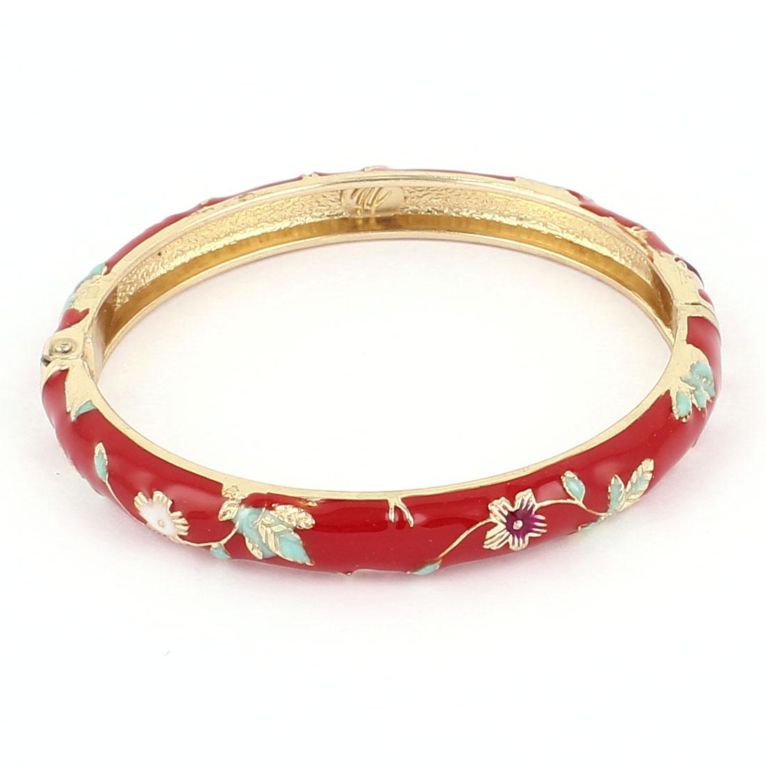 Lady Girl 2.3-inch Dia Round Shape Red Hinge Wrist Bracelet