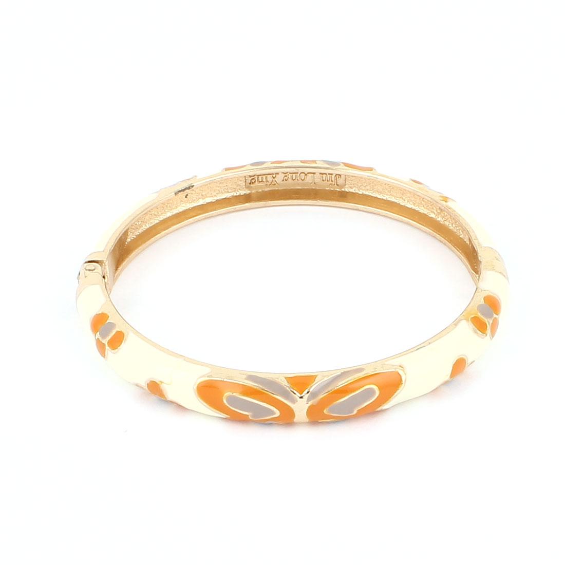 Lady Girl 2.3-inch Dia Round Shape White Hinge Wrist Bracelet