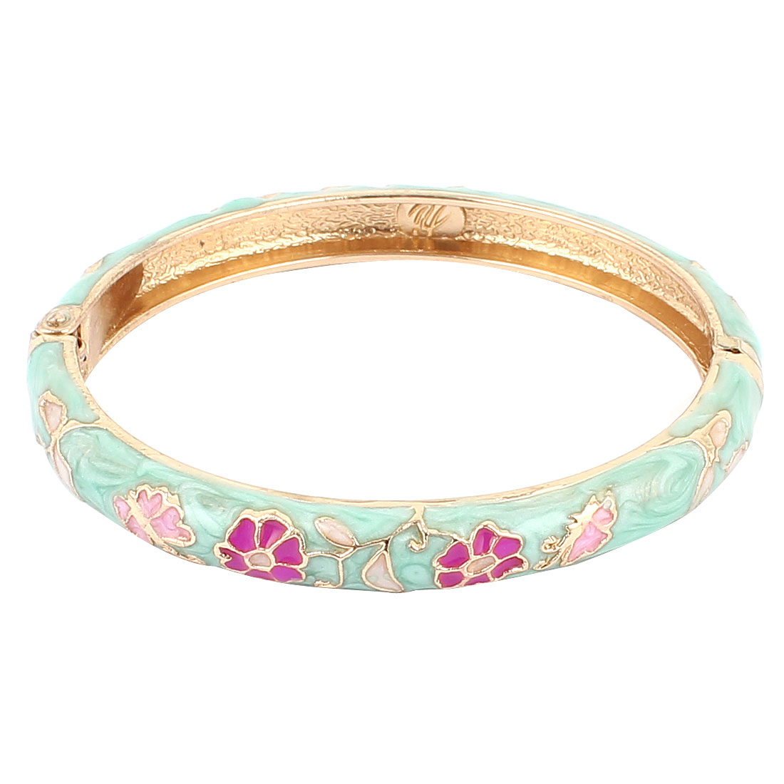 Lady 2.3-inch Dia Teal Hinged Wrist Enamel Bracelet Bangle