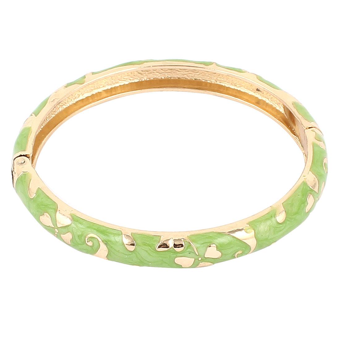 Lady Girl 2.3-inch Dia Round Shape Green Hinge Wrist Bracelet Bangle