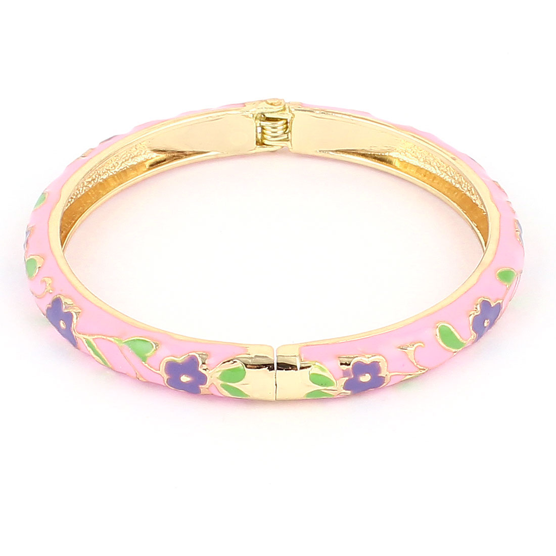 Lady 2.3-inch Dia Pink Hinged Wrist Enamel Bracelet Bangle