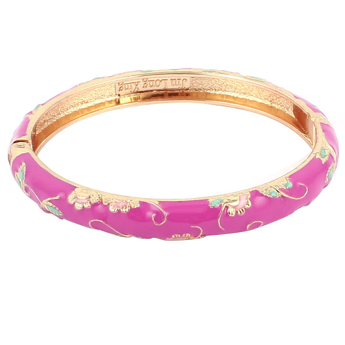 Lady Girl 2.3-inch Dia Fuchsia Cuff Wrist Enamel Bracelet Bangle