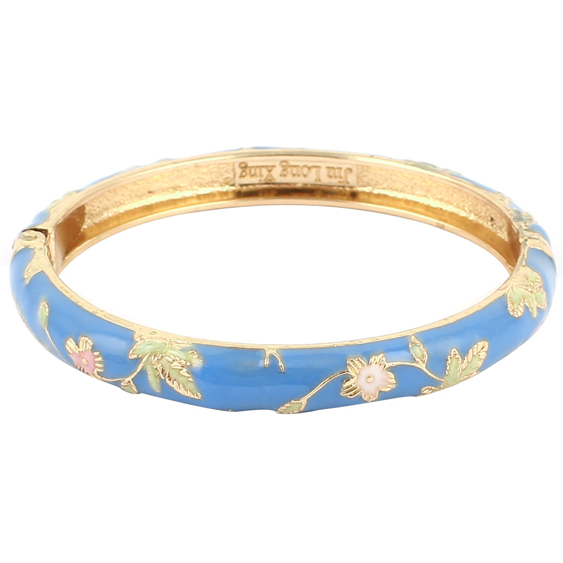Lady Girl 2.3-inch Dia Sky Blue Hinged Wrist Enamel Bracelet Bangle