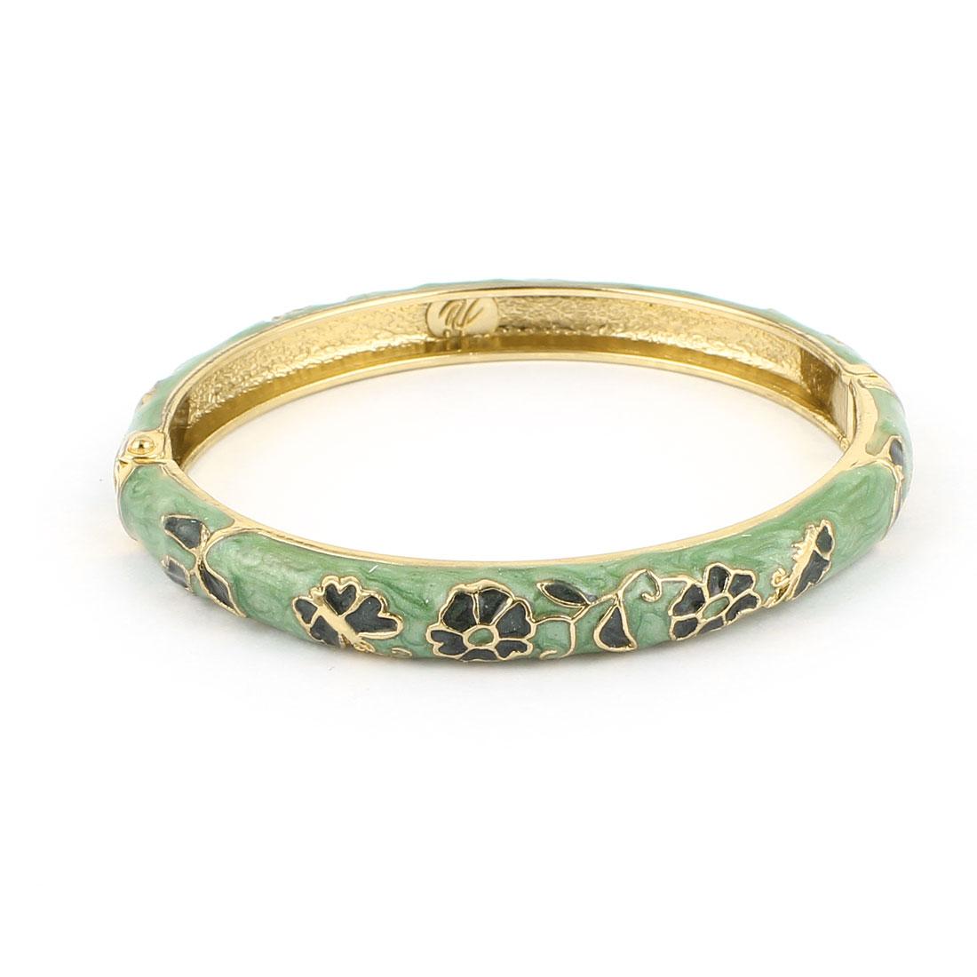 Lady Girl 2.3-inch Dia Olive Green Wrist Cuff Enamel Bracelet Bangle